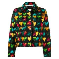 "Versace ""Love Versace"" Multicolored Hearts Print Denim Jacket Size 40"