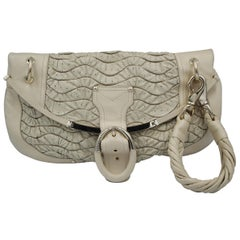 Versace Maxi Clutch or handbag in Cream Leather