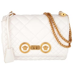 Versace Medium White Quilted Leather Icon Shoulder Bag W/ Gold Tone Metal Chain
