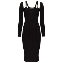 VERSACE MEDUSA ACCENT BLACK KNIT Dress 40 - 4