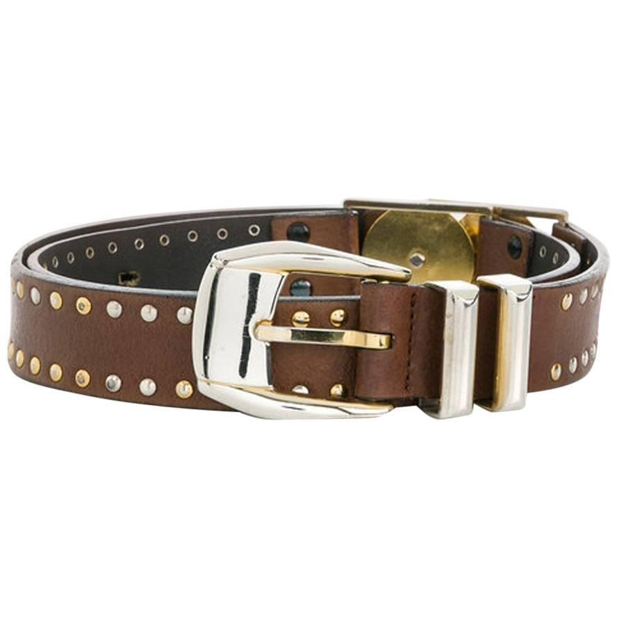 Versace Medusa Brown Leather Belt