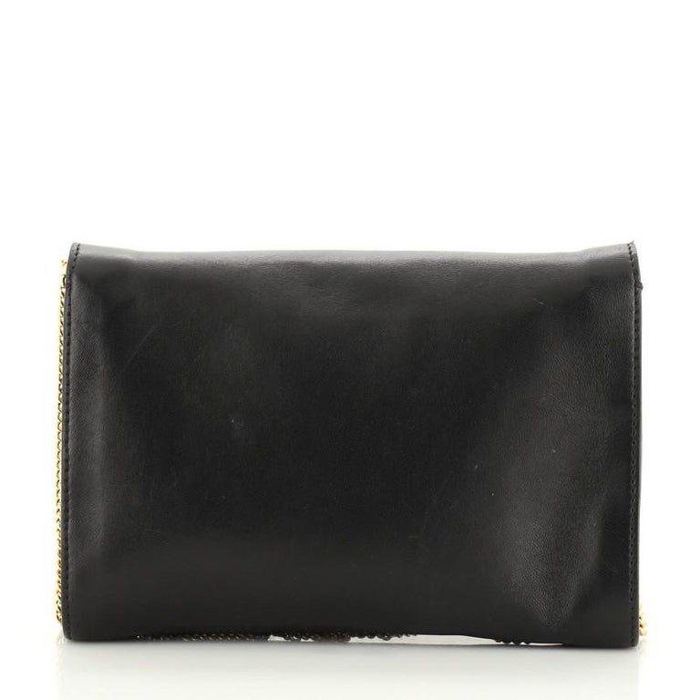 Black Versace Medusa Chain Clutch Leather Small