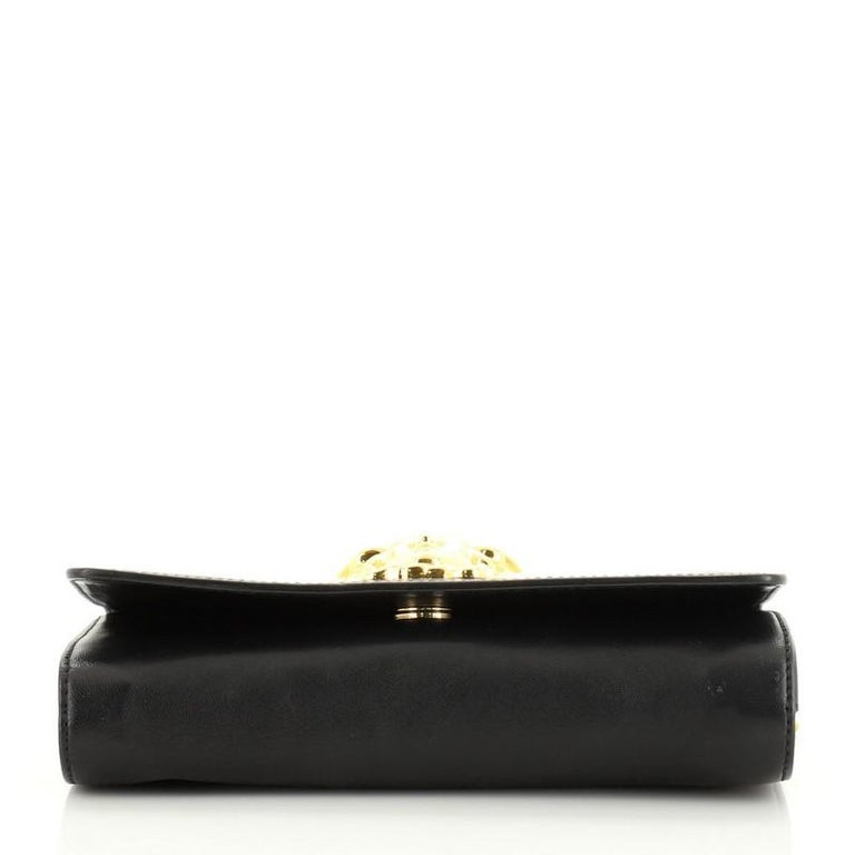 Versace Medusa Chain Clutch Leather Small In Good Condition In New York, NY