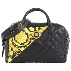 Versace Medusa Convertible Satchel Quilted Printed Leather Medium