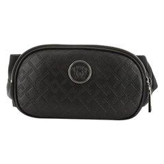 Versace Medusa Double Zip Waist Bag Embossed Leather