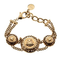 Versace Medusa Gold Tone Chain Link Bracelet