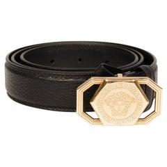 Versace Medusa Head Black Leather Belt (Size 85/34)