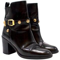 Versace Medusa Head Buckle Black Ankle Boots Size 39