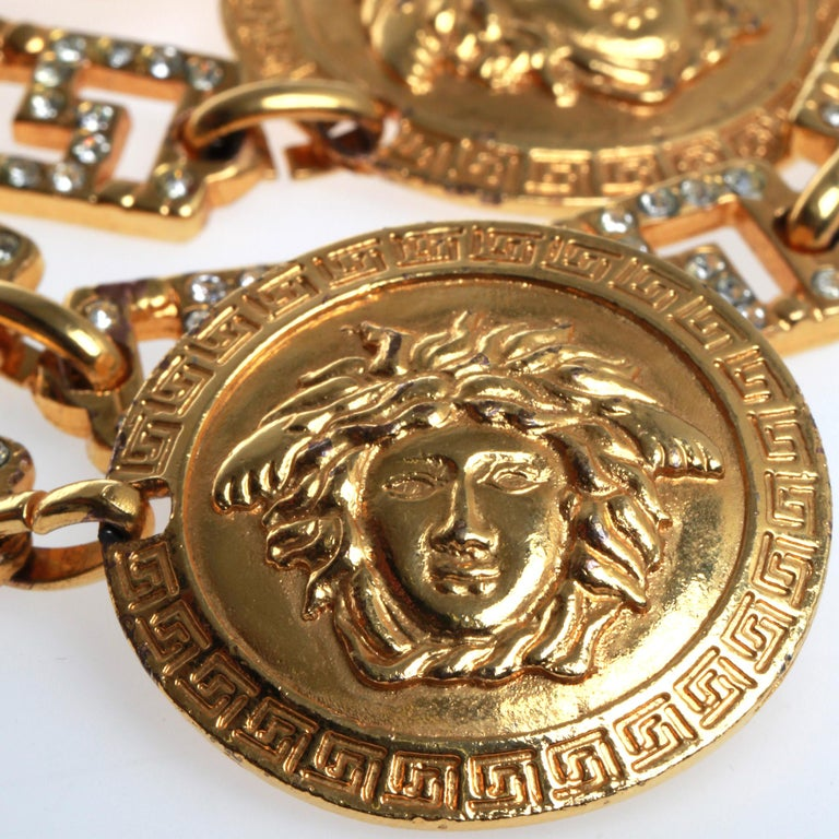 Brown Versace Medusa Head Chain Belt For Sale
