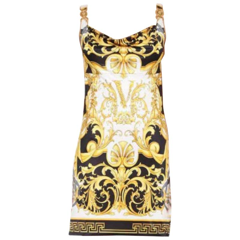 VERSACE MEDUSA PRINTED STRETCH JERSEY MINI Dress 38 - 2, 40 - 4, 42 - 6 by Versace, available on 1stdibs.com for $2036 Kylie Jenner Dress SIMILAR PRODUCT