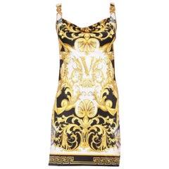 VERSACE BAROQUE MEDUSA PRINTED STRETCH JERSEY MINI Dress 40 - 4, 42 - 6