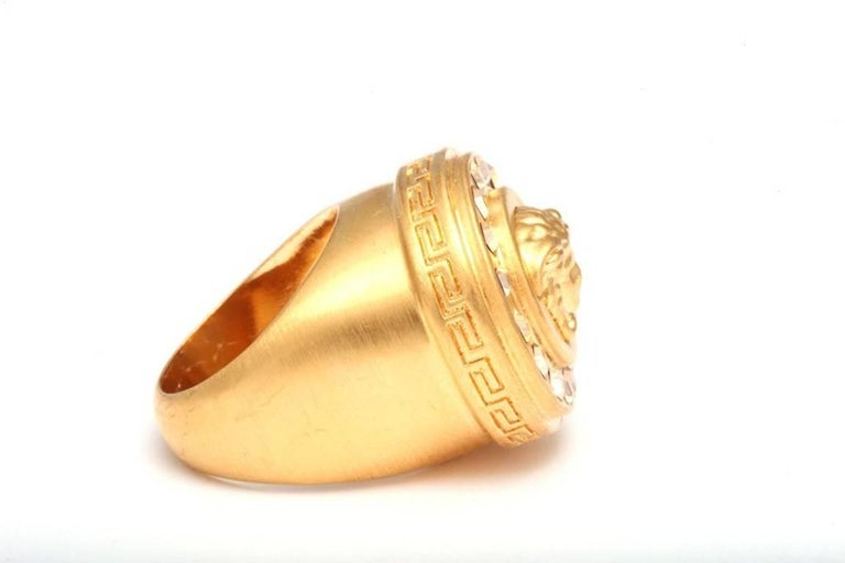 Contemporary Versace Medusa Size 7 Motif Ring With Rhinestones For Sale