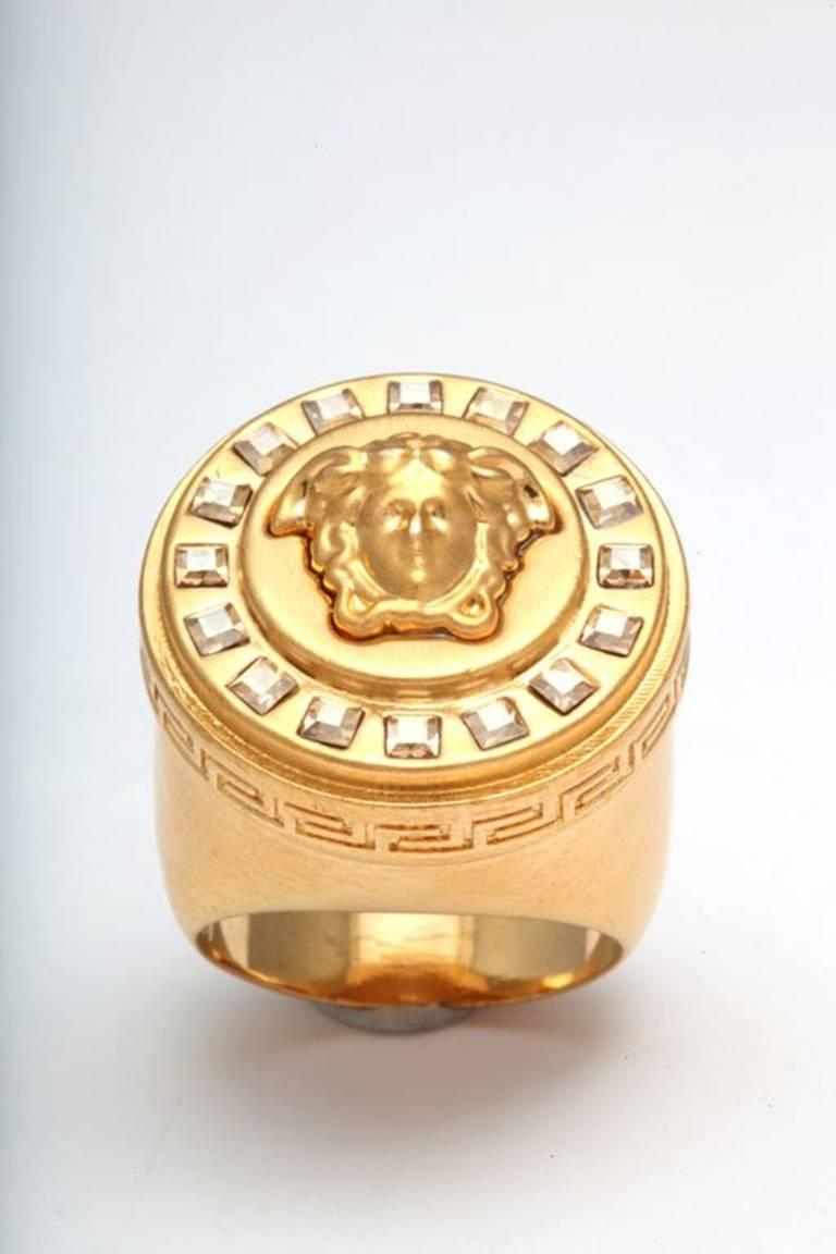 Versace Medusa Size 7 Motif Ring With Rhinestones For Sale 1