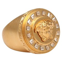 Versace Medusa Size 7 Motif Ring With Rhinestones