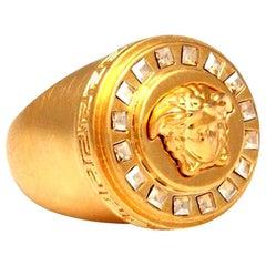 Versace Medusa Size 7 Motif Ring With Rhinestones