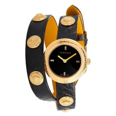 Versace Medusa Stud Icon Quartz Black Leather Watch VERF01218