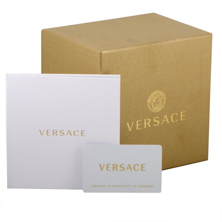 Women's Versace Medusa Stud Icon Quartz Blue Leather Watch VERF00418 For Sale