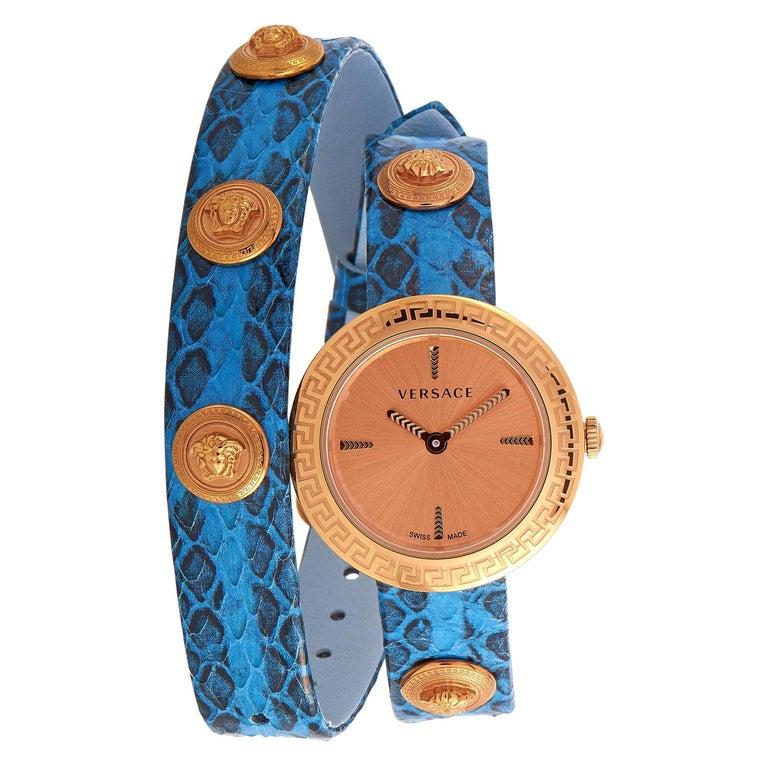 Versace Medusa Stud Icon Quartz Blue Leather Watch VERF00418 For Sale