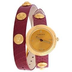 Versace Medusa Stud Icon Quartz Burgundy Leather Watch VERF01118