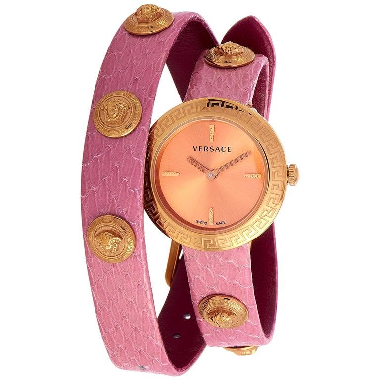Versace Medusa Stud Icon Quartz Pink Leather Watch VERF00518 For Sale
