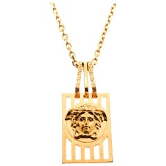 Versace Medusa Tag Gold Tone Pendant Necklace