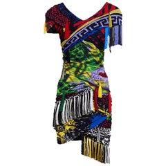 VERSACE Mega Mix Print Fringe Mini Dress IT42 US 4-6