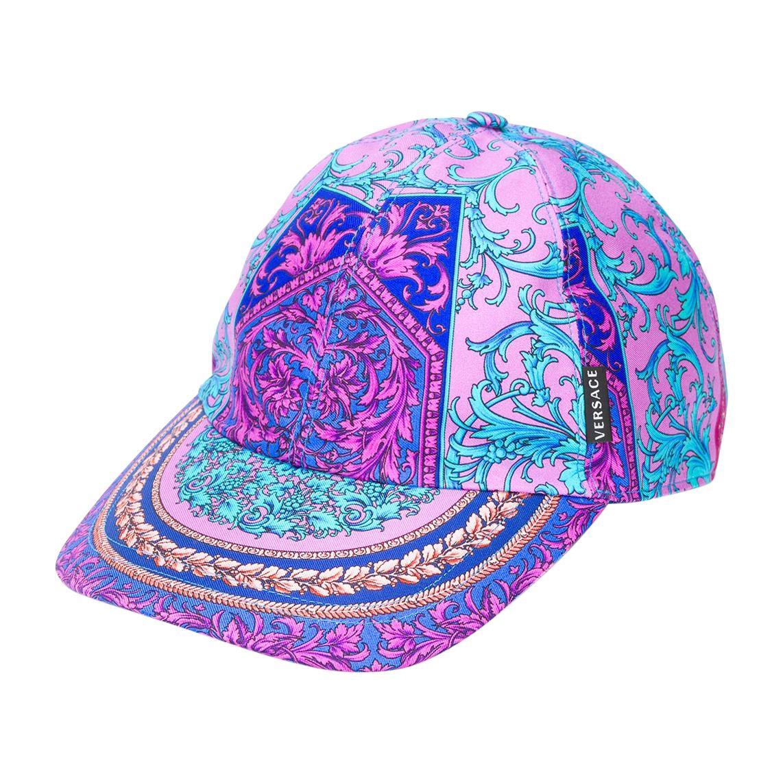 Versace Mens Fuchsia & Blue Multicolored Barocco Print Silk Baseball Cap Size 60