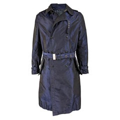 Versace Mens Iridescent Blue Taffeta Trench Coat