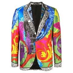 Versace Mens Magna Grecia Multicolor Print Silk Dinner Jacket / Blazer Size 48