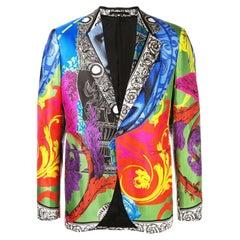 Versace Mens Magna Grecia Multicolor Print Silk Dinner Jacket / Blazer Size 50