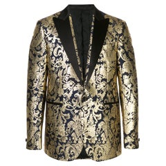 Versace Mens Navy Gold Metallic Barocco Brocade Blazer/ Dinner Jacket SZ 54 (IT)