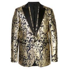 Versace Mens Navy Gold Metallic Barocco Brocade Blazer/ Dinner Jacket SZ 56 (IT)