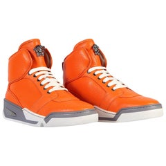 Versace Men's Orange Perforated Leather High-Top Sneakers sizes: 41,42,43,44,54