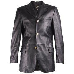Versace Mens Vintage Leather Blazer Jacket