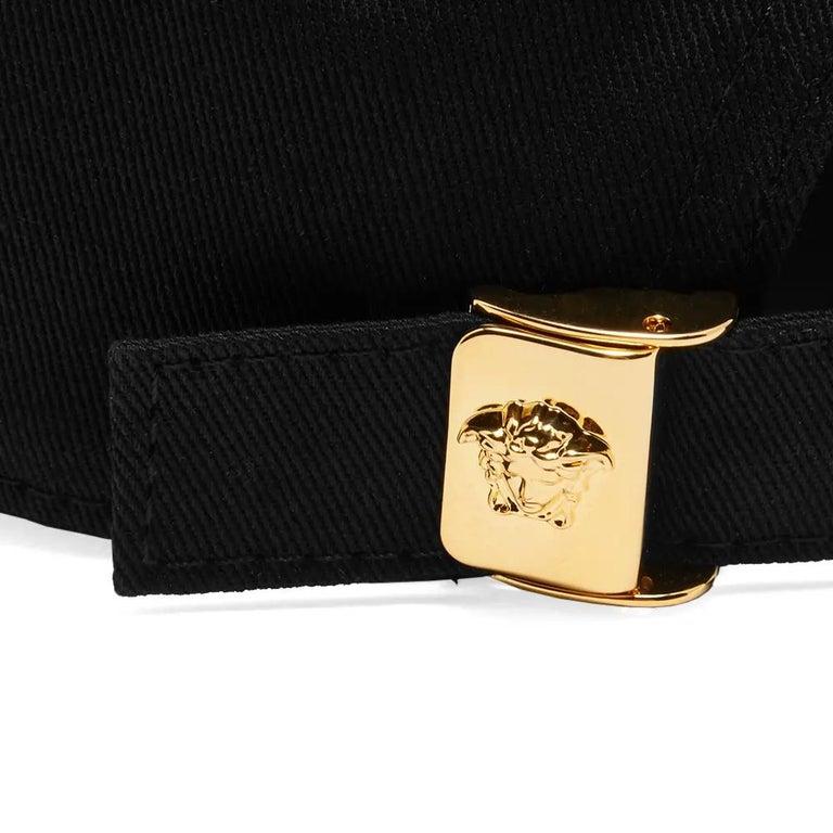 Men's Versace Mens Vintage Logo Embroidered Black Baseball Cap Size 58 For Sale