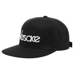 Versace Mens Vintage Logo Embroidered Black Baseball Cap Size 58