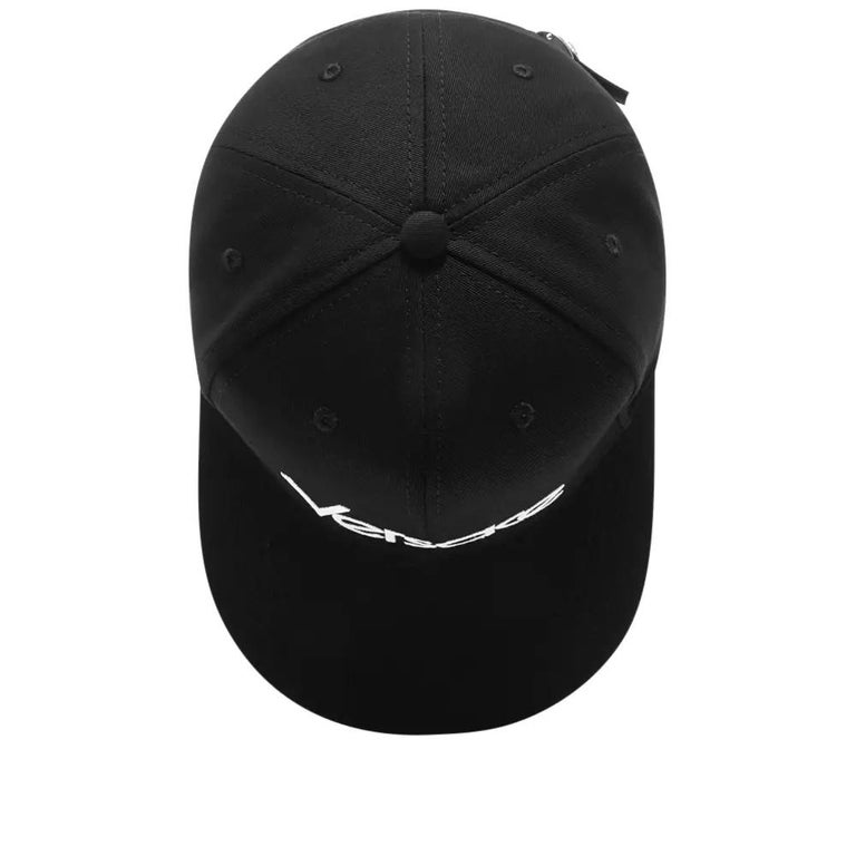 Versace Mens Vintage Logo Embroidered Black Baseball Cap Size 59 In New Condition For Sale In Paradise Island, BS