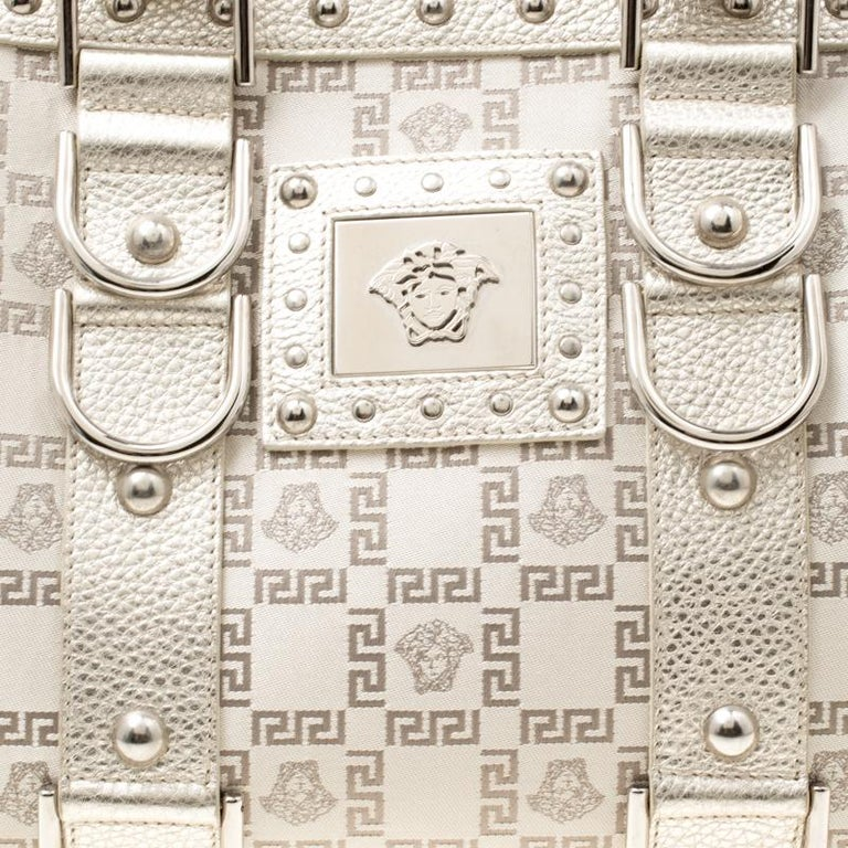 Versace Metallic Beige Signature Fabric and Leather Snap Out Of It Satchel For Sale 6
