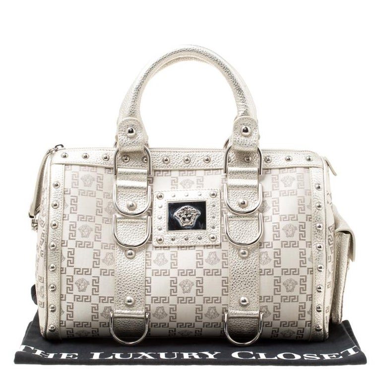 Versace Metallic Beige Signature Fabric and Leather Snap Out Of It Satchel For Sale 7