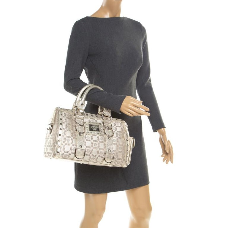 Versace Metallic Beige Signature Fabric and Leather Snap Out Of It Satchel In Good Condition For Sale In Dubai, Al Qouz 2