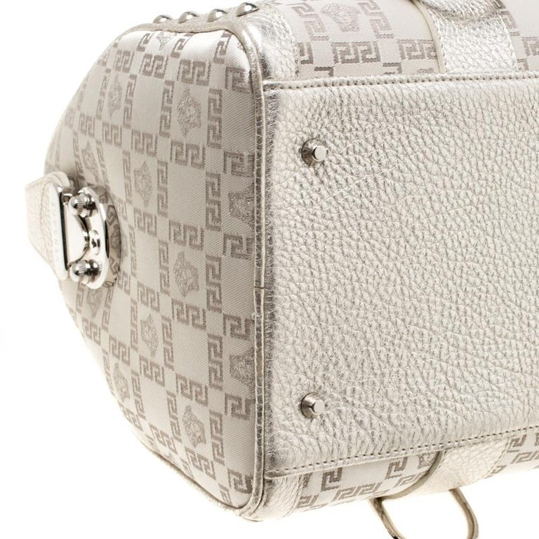 Versace Metallic Beige Signature Fabric and Leather Snap Out Of It Satchel For Sale 1