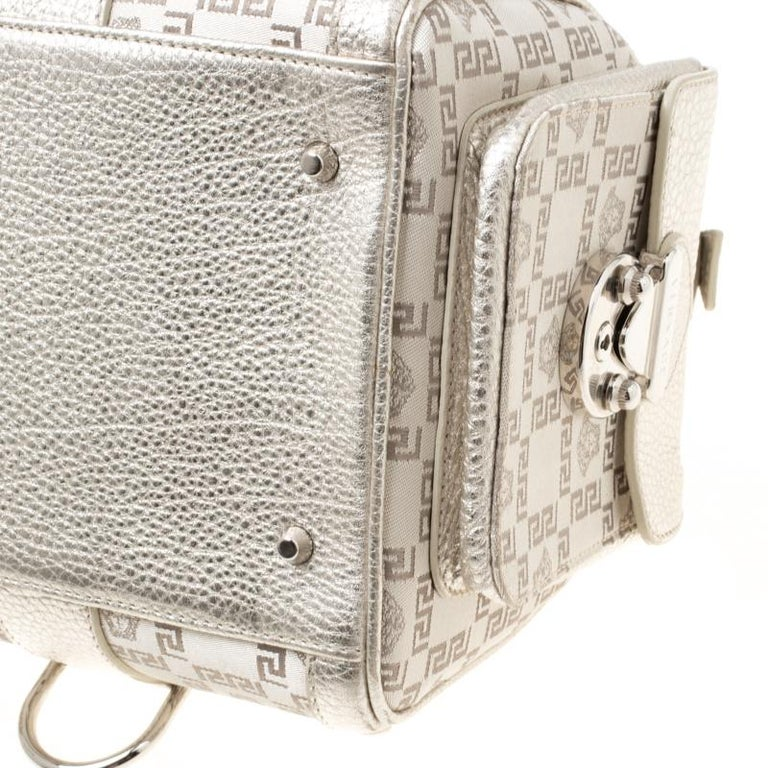 Versace Metallic Beige Signature Fabric and Leather Snap Out Of It Satchel For Sale 2