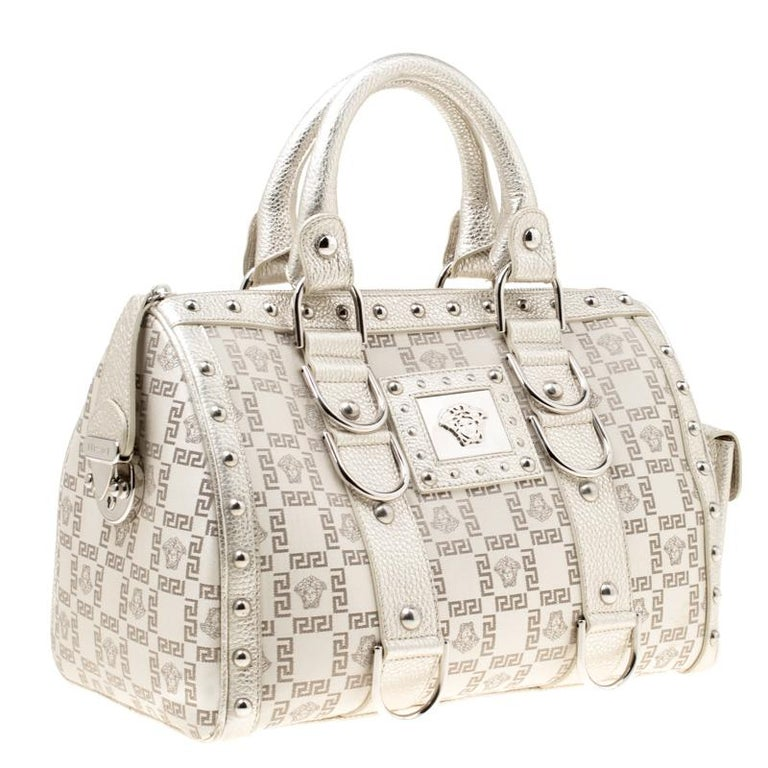 Versace Metallic Beige Signature Fabric and Leather Snap Out Of It Satchel For Sale 4