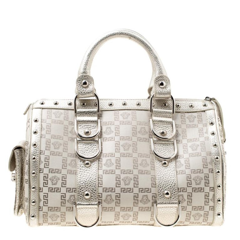 Versace Metallic Beige Signature Fabric and Leather Snap Out Of It Satchel For Sale 5