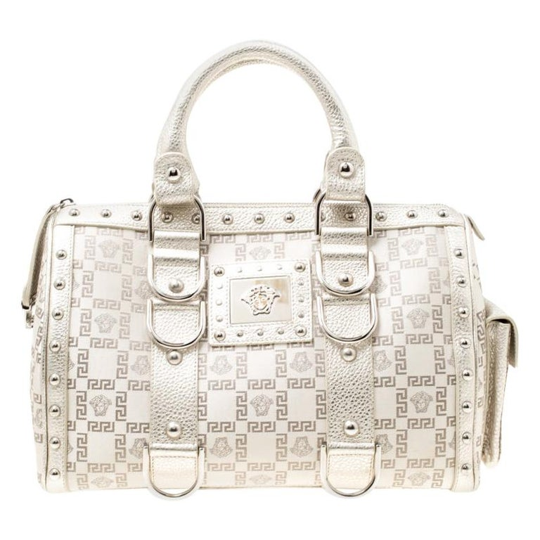 Versace Metallic Beige Signature Fabric and Leather Snap Out Of It Satchel For Sale