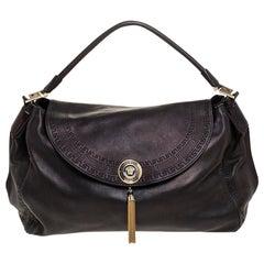 Versace Metallic Black Barocco Leather Altea Hobo