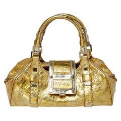 Versace Metallic Gold Crinkled Leather Satchel