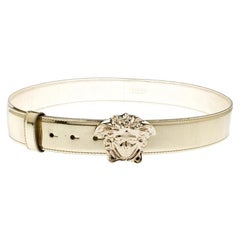 Versace Metallic Gold Leather Medusa Belt 95CM