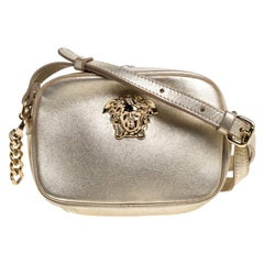 Versace Metallic Gold Leather Palazzo Medusa Camera Crossbody Bag