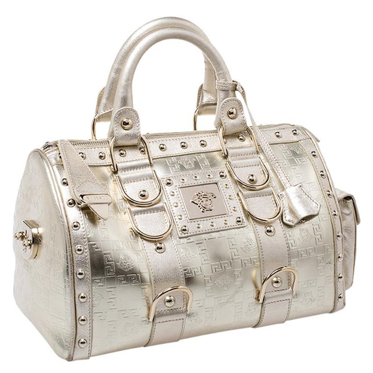 Versace Metallic Gold Leather Snap Out Of It Satchel In Good Condition For Sale In Dubai, Al Qouz 2